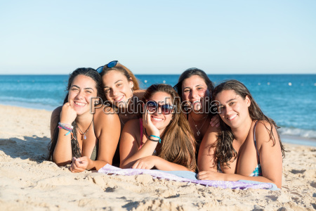group of girls at the beach