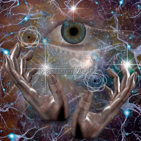 mao dedo espaco cosmos ceu olho