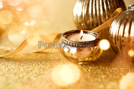decoracao dourada do natal