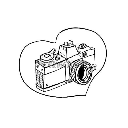 desenho do coracao da camera do