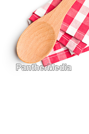 checkered napkin and wooden spoon