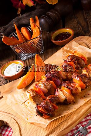 batata, doce, fritas, com, páprica, picante - 25897124