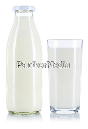 vidro de leite e frasco isolados