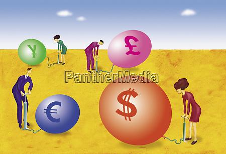 executivos que inflam baloes de moeda