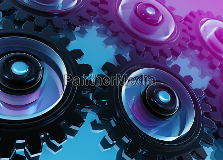 digitally generated interconnected cogs and gears