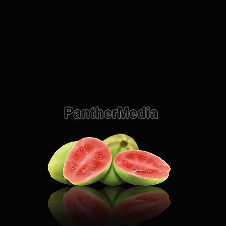 whole and cut guavas