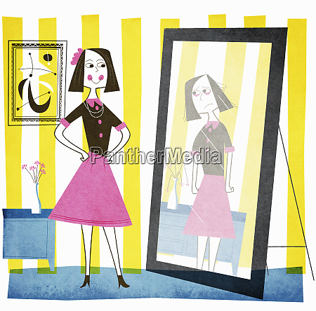 smiling woman looking at unhappy reflection