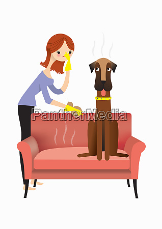 woman approaching smelly dog on sofa