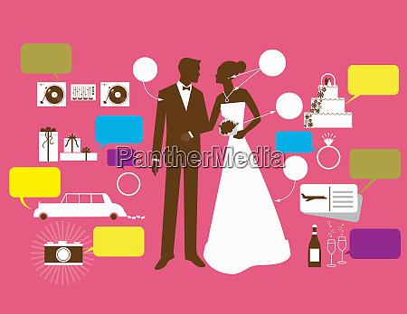 noiva e noivo cercados por precos
