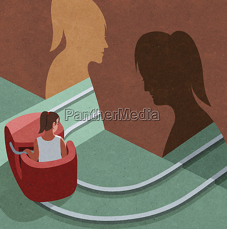 woman changing from sad tunnel to