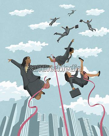 as mulheres de negocios amarradas acima