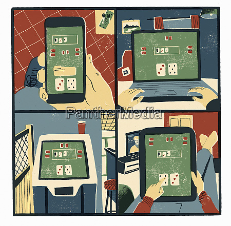 man addicted to online gambling