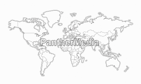 blank black and white map of