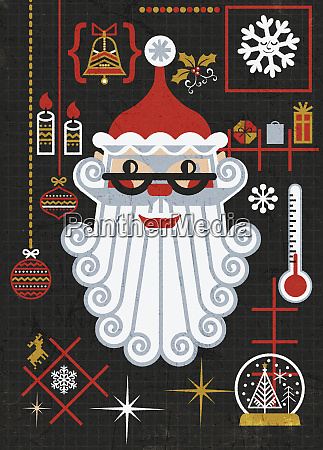 father christmas and christmas decorations