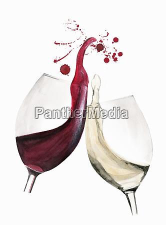 vidros de vinho vermelhos e brancos