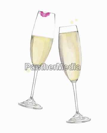 vidros de champagne que clinking no