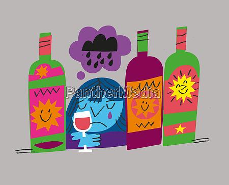 alcoholic woman crying drinking wine