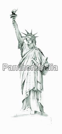 akvarel maleri af frihedsgudindennew york