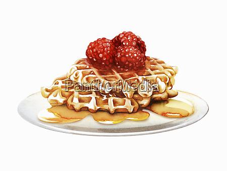 waffles da framboesa que oozing com
