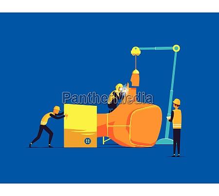 construtores que montam a grande mao