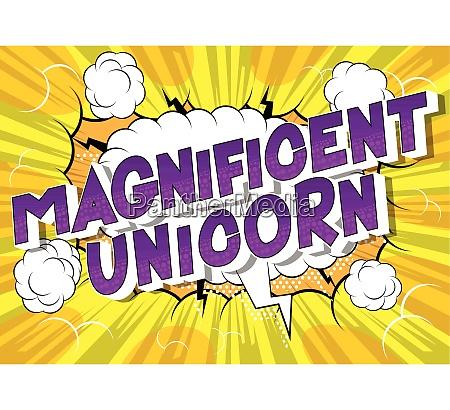 magnificent unicorn comic book style