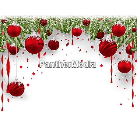 christmas background with red baubles and