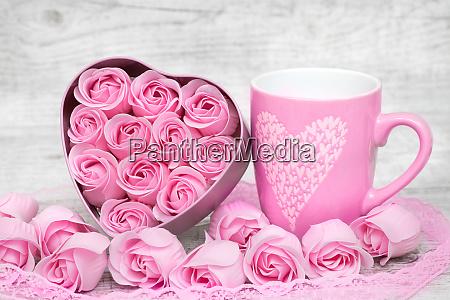 copo de cafe de porcelana rosa