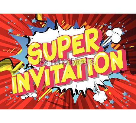 super invitation comic book style
