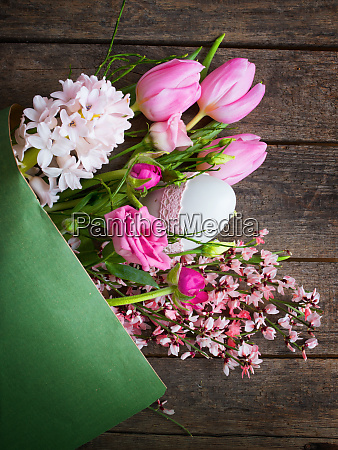 bunch of spring flowers with easter