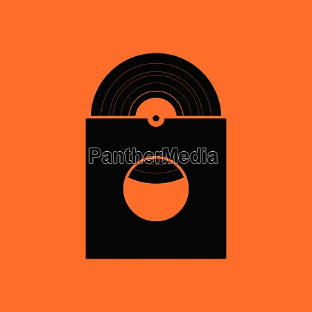 vinyl record in envelope icon orange