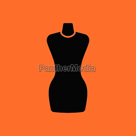 tailor mannequin icon orange background with