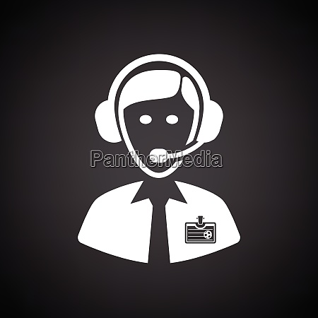 soccer commentator icon black background with