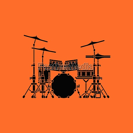 drum set icon orange background with
