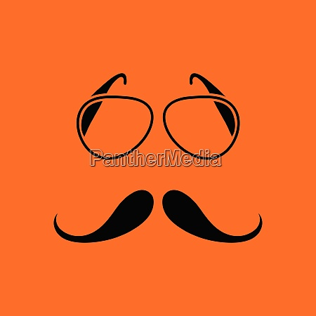 glasses and mustache icon orange background