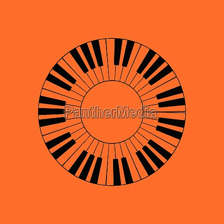 piano circle keyboard icon orange background