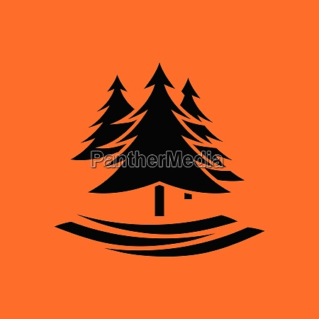 fir forest icon orange background