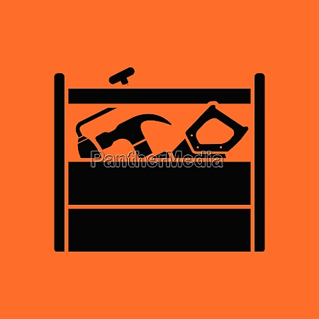 retro tool box icon orange background