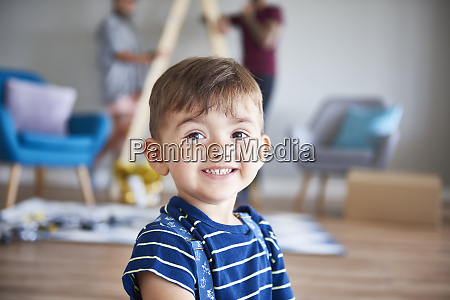 portrait of smiling boy at home