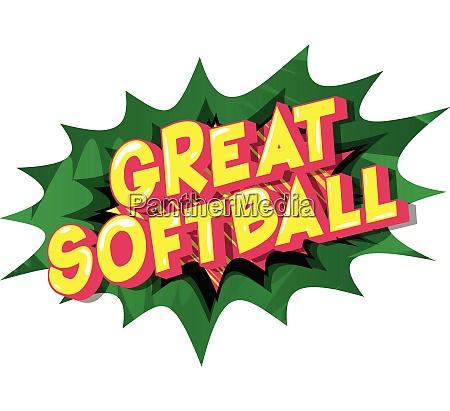 great softball comic book style
