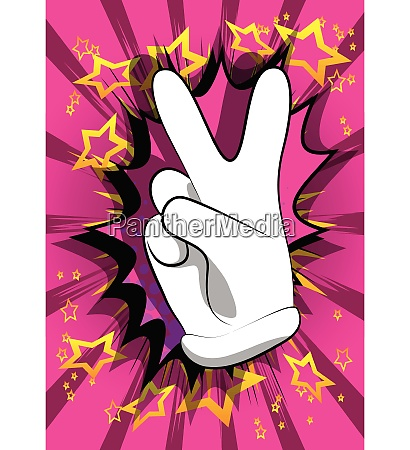 cartoon hand showing the v sign