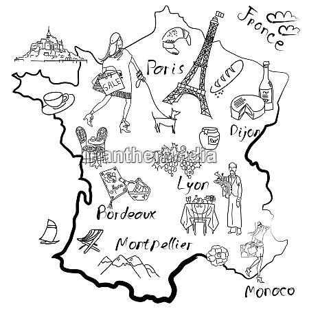 mapa estilizado da franca coisas pelas