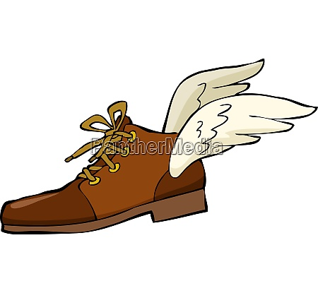 shoe with wings on a white