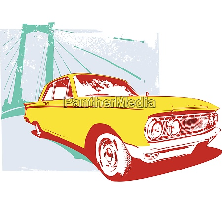 vector illustration of old vintage custom