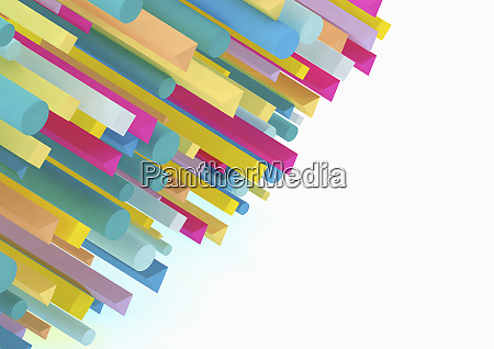 contraste entre muitas varas tridimensionais coloridas