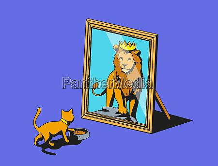 gato que olha no espelho e