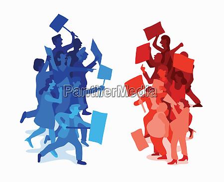 manifestantes de confronto de partidos politicos