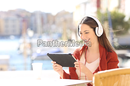 woman watching media content in a