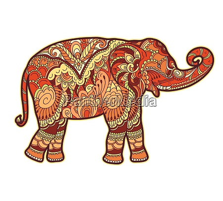 drawing stylized elephant freehand sketch for