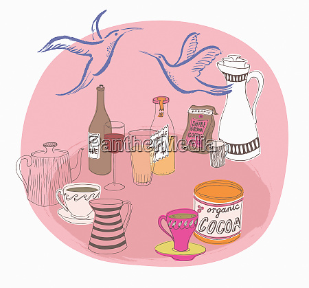 variedade de bebidas organicas