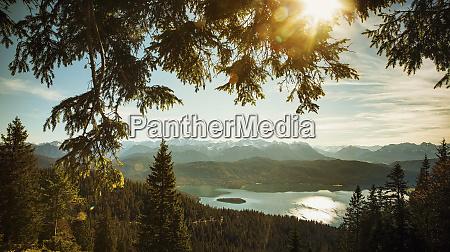 scenic idyllic view walchensee lake and